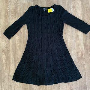 Jones New York L black sweater dress NWT knit l/s